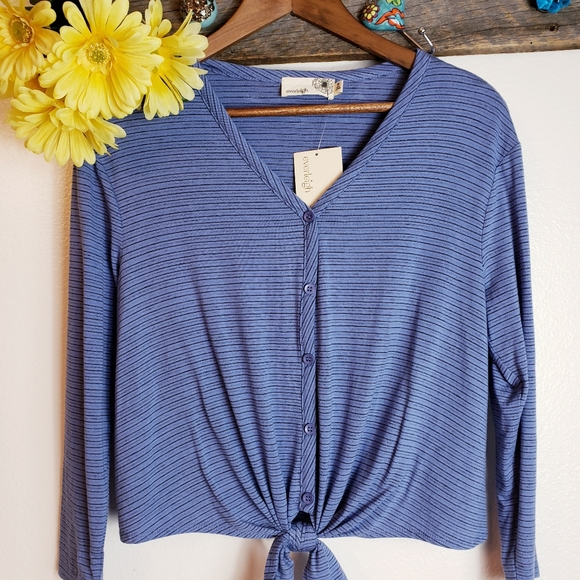 Everleigh Bow Tie Blue Striped Button Front L//S Top Blouse Womens Size Large NWT